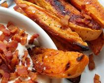 Sweet Potatoes with Maple-Bacon Sour Cream