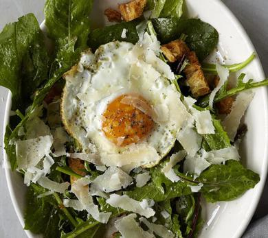 Dandelion Greens with a Fried Egg, Croutons, and Anchovy Dressing