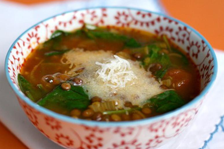 Spinach-Lentil Soup with Saffron and Manchego