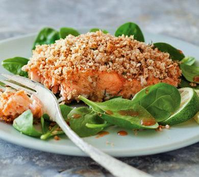 Crunchy Baked Ginger Dill Salmon