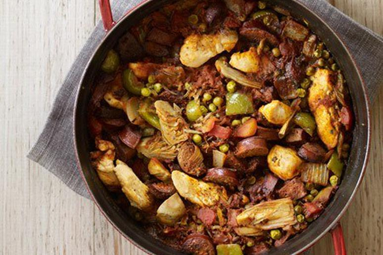 Spanish-Inspired Wild Rice, Chicken, and Chorizo Casserole