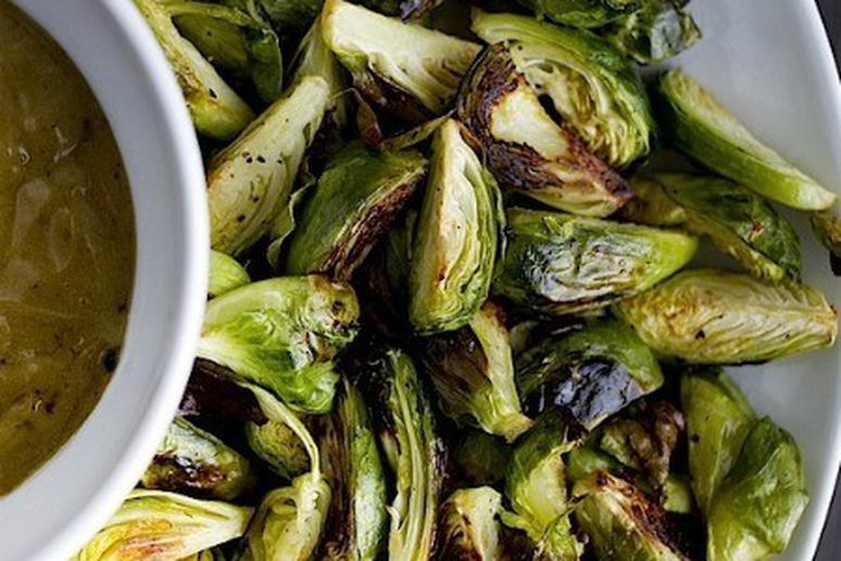 Crispy Brussels Sprouts with Black Garlic Aioli