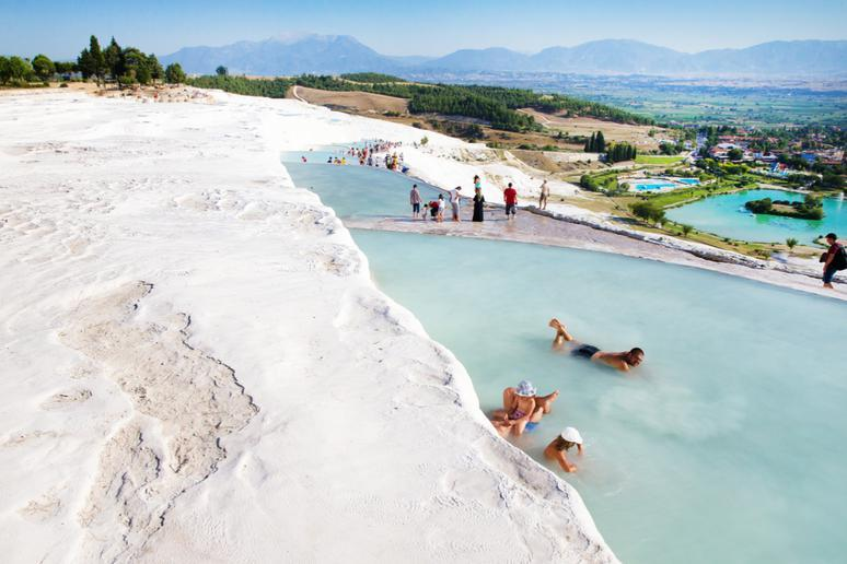 Taking a natural spa bath in Pamukkale