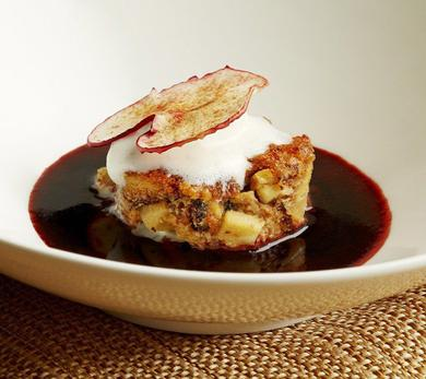 Apple Pandoro Pudding with Vanilla Gelato, Mulled Wine Sauce, and Apple Chips