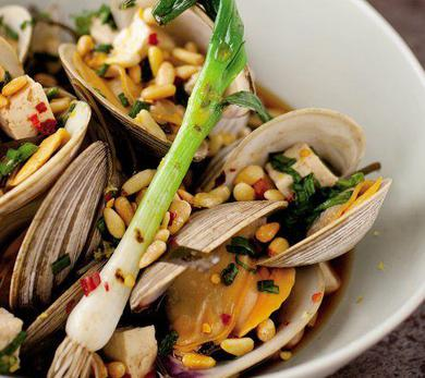 Clams Steamed in Sake with Soy and Pine Nuts