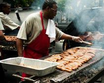 Sausage, pulled pork and  other barbecue dishes were served at the Big Apple BBQ Block Party.