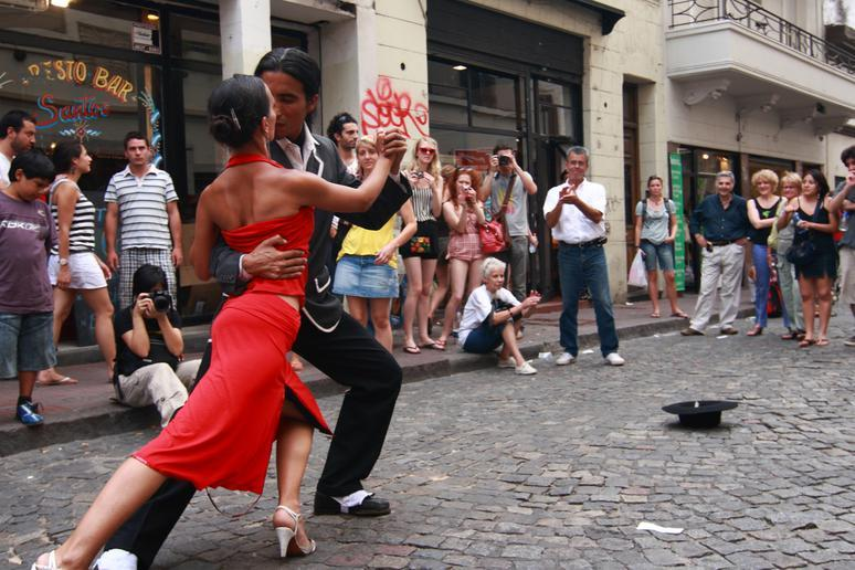 Dancing tango in Buenos Aires