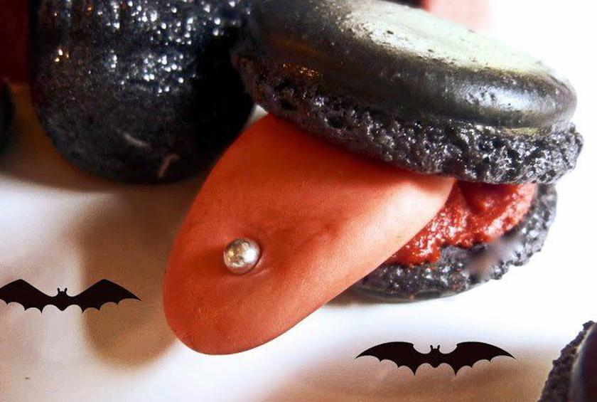 pierced tongue halloween black macarons