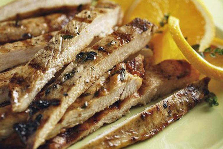 Flash-Grilled Chicken Breasts with Orange-Maple Syrup Sauce