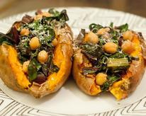 Baked Sweet Potato with Rainbow Swiss Chard and Chickpeas