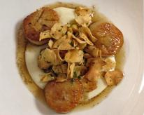 Pan-Seared Scallops with Sunchoke and Meyer Lemon