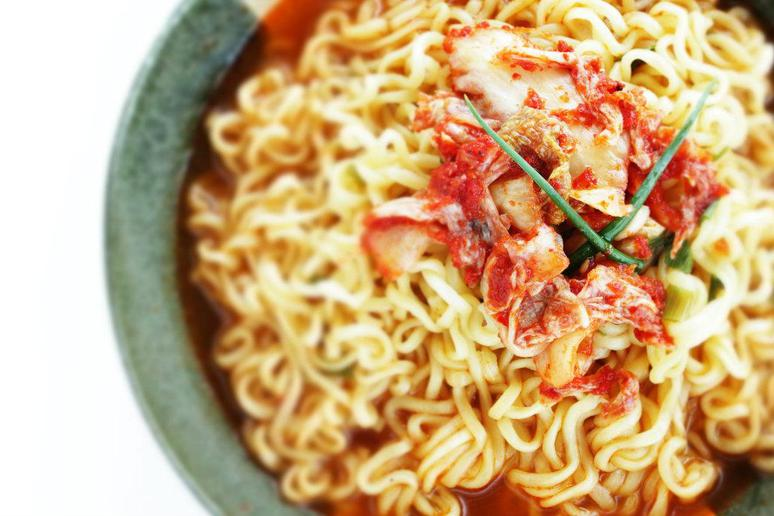 """Spicy Kimchi Yuba """"Noodles"""" With Poached Egg"""