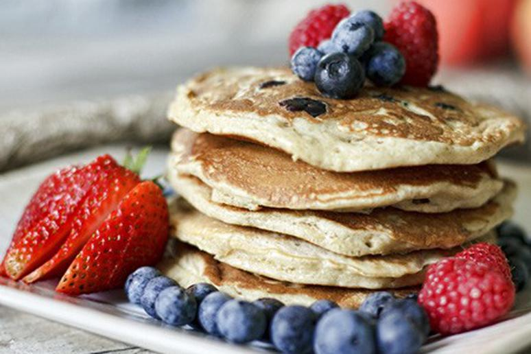 Honey Oat and Blueberry Pancakes