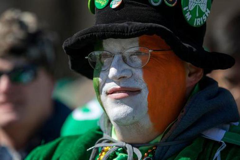 David Westerby of Kenosha, Wis., sports Irish face paint during the St. Patrick's Day Parade Saturday, March 11, 2017, in Chicago.