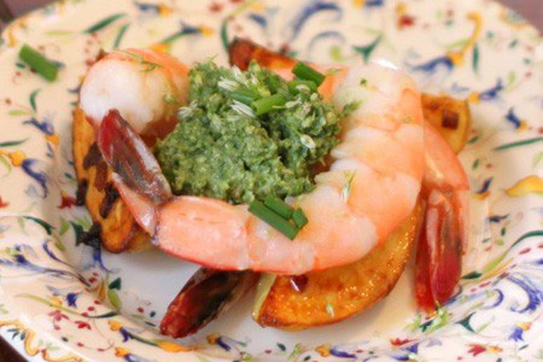 Sorrel and Chive Pesto with Shrimp and Potatoes