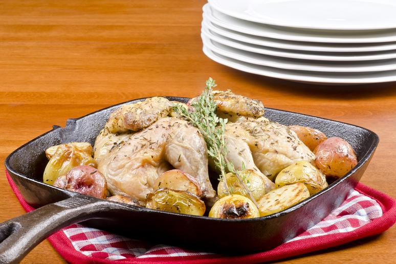 Cast-Iron Skillet-Roasted Game Hen