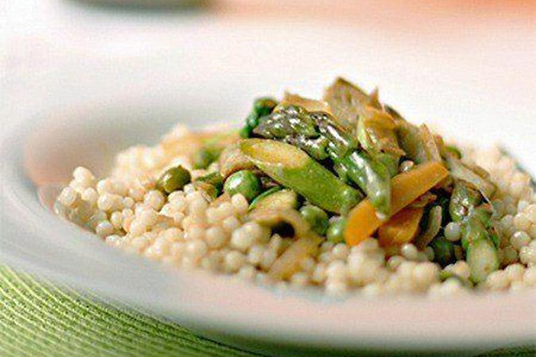 Braised Spring Vegetables with Israeli Couscous