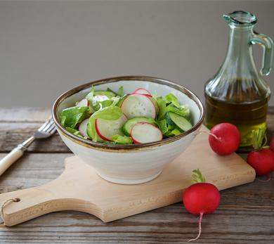 Mushroom, Radish, and Bibb Lettuce Salad with Avocado Dressing