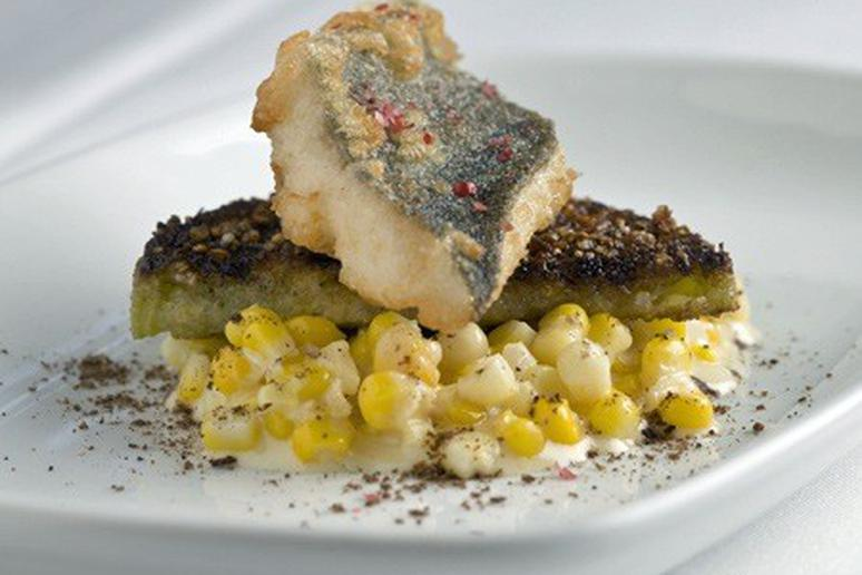 Tempura Trout on Fried Green Tomatoes and Creamed Corn