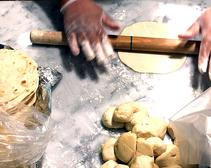 A chain with fresh-made tortillas