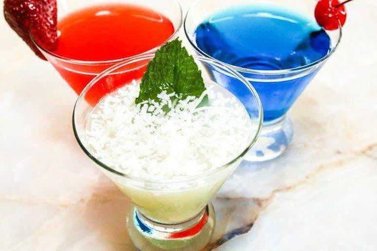 Fourth of July red, white, and blue cocktails