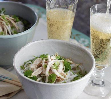 Pho and Champagne in Bed