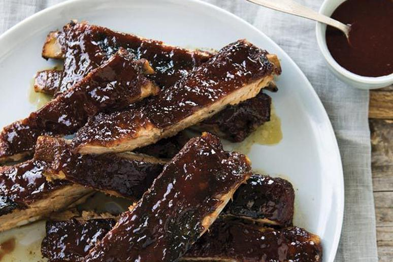 Pork Ribs with Raspberry Sorghum Barbecue Sauce