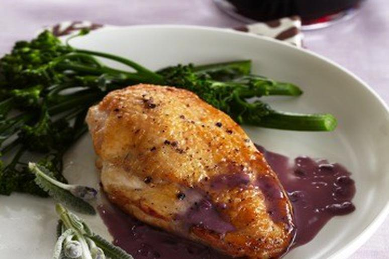 Skillet-Roasted Chicken Breasts with Lavender and Red Wine-Butter Sauce