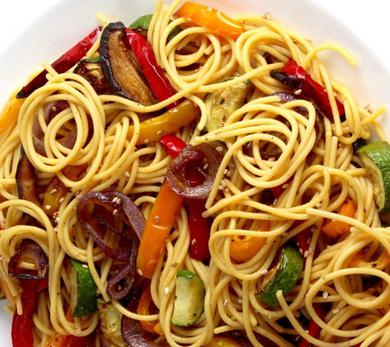 chickpea spaghetti with roasted vegetables