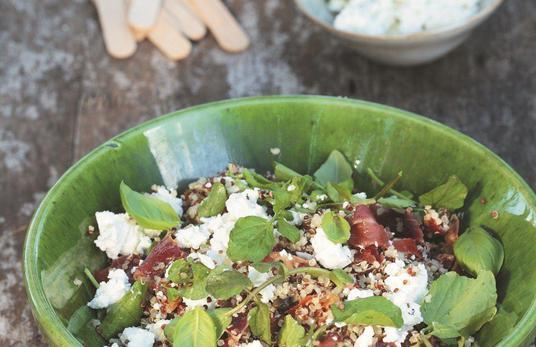 Quinoa Salad with Goat's Cheese, Basil and Crispy Prosciutto