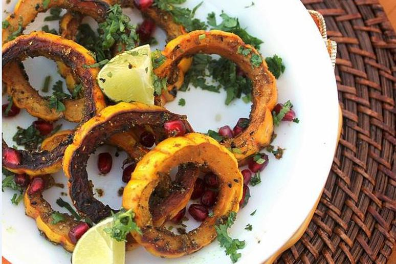 Roasted Delicata Squash With Cumin, Lime, and Green Chile Rub