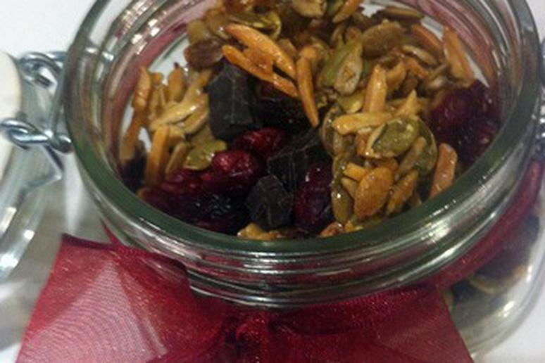 Pumpkin Seed Dried Cherry Trail Mix with Dark Chocolate