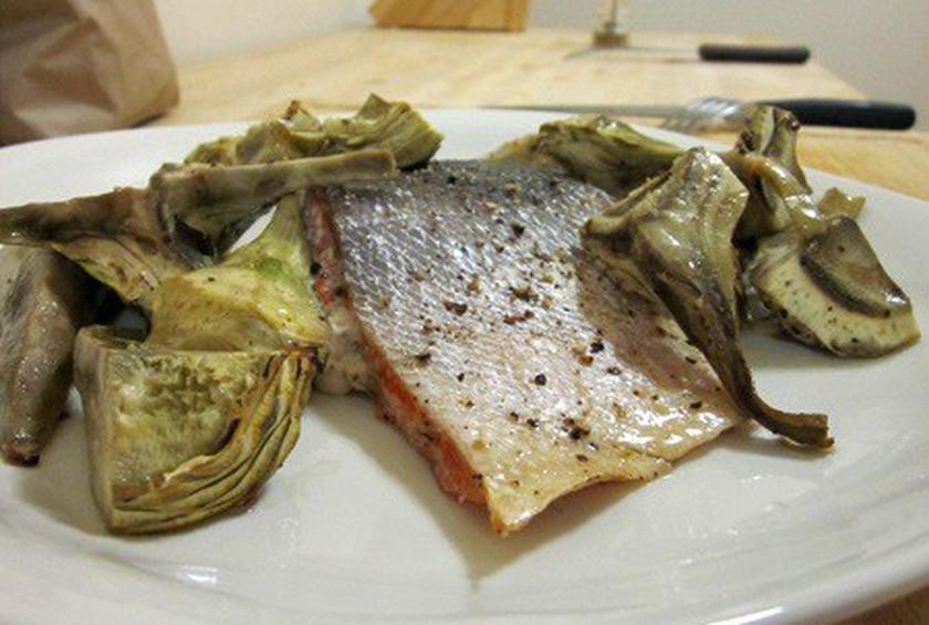Roasted Salmon And Artichoke Hearts Recipe By Will Budiaman