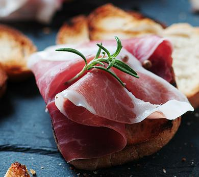 Grilled Ham and Cheese Crostini