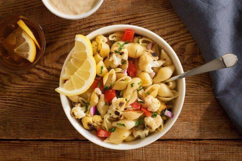 Grilled Cauliflower Pasta With Lemon-Tahini Dressing
