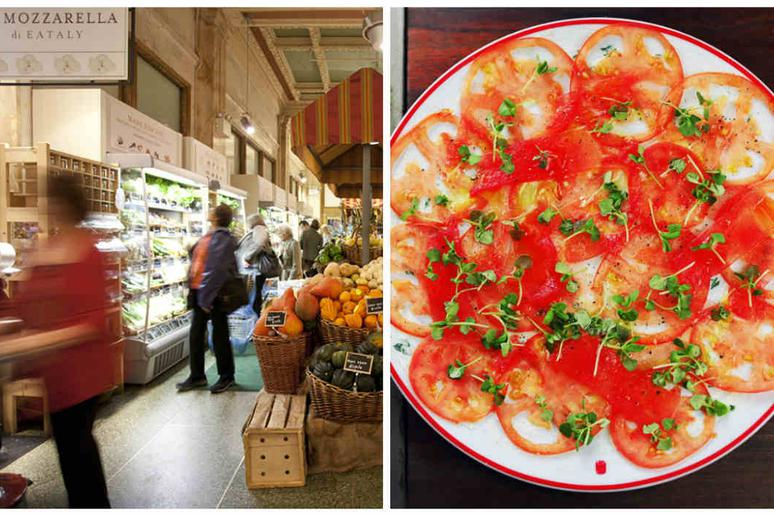 A preview of Eataly in Boston and an heirloom tomato dish at Farmers & Distillers in Washington D.C.