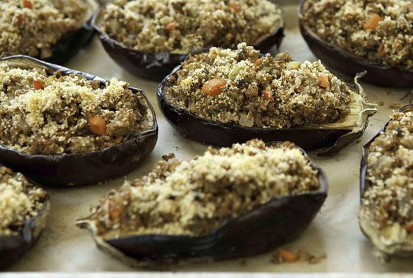 Baked Eggplant with Nutty Bulgur Stuffing