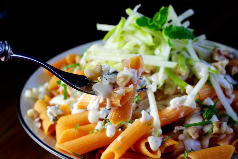 Red Lentil Penne with Gorgonzola Sauce, Walnut, Apple, Mint