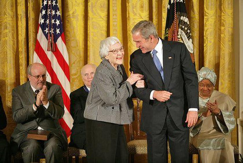 Harper Lee receive the Presidential Medal of Freedom from President George W. Bush.