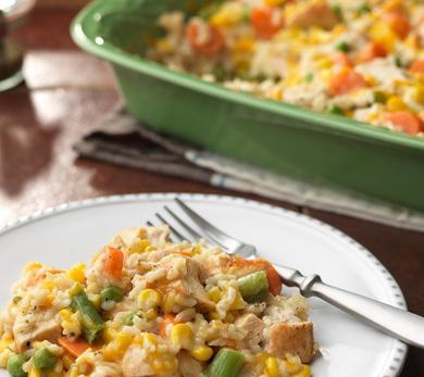 Easy Cheesy Chicken and Rice Casserole