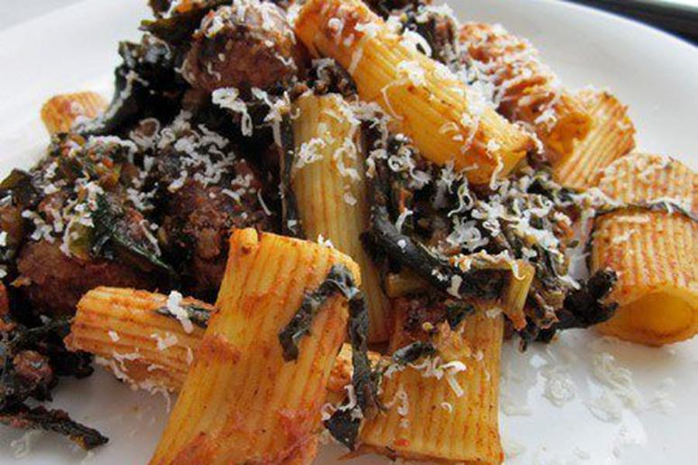 Rigatoni with Tuscan Kale, Black Trumpet Mushrooms, and Sausage