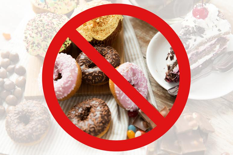 Cut back on the sweets, sugary beverages, and white starches