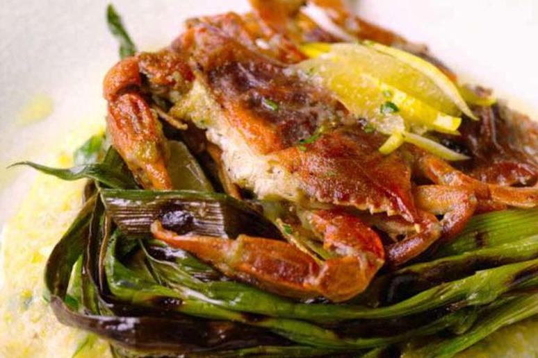 Soft-Shell Crabs with Grilled Scallions and Lemon Polenta