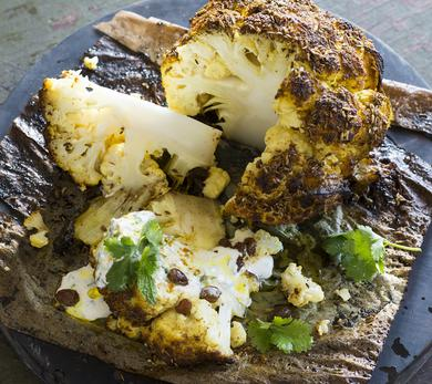 Baked Whole Cauliflower With Indian Spices, Mint and Yo