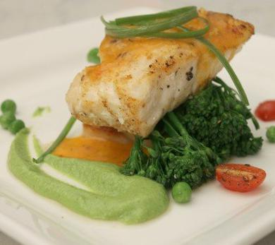Spiced Grouper with Roasted Bell Pepper and Coconut Pea Coulis