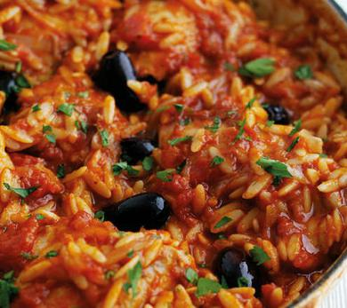 Chicken, Olive, and Orzo Bake