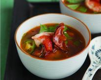 Thai Sweet and Sour Soup with Lobster Mushrooms, Lemongrass, and Shrimp