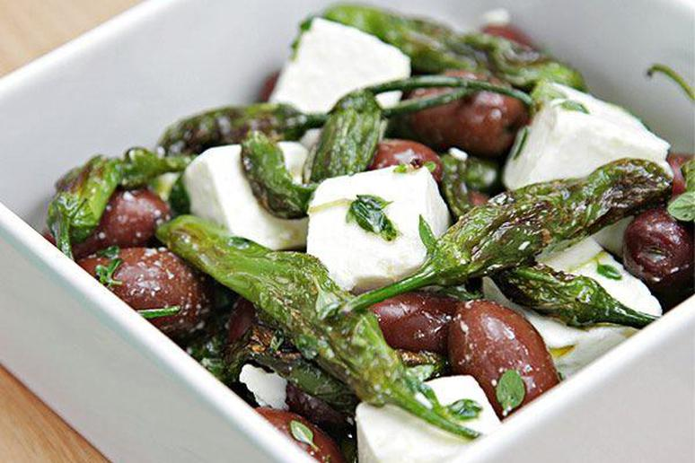 Marinated Feta with Pan-Roasted Shishito Peppers and Olives