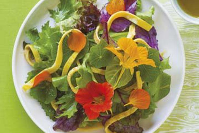 Nasturtium Salad with Omelette Ribbons